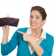 Stock Photo: Girl hands pointing to empty wallet