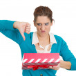 Stock Photo: Womholding gift
