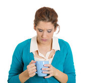 Asleep woman holding a cup — Stock Photo
