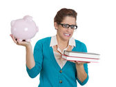 Woman with glasses carrying tons of books — Stock Photo