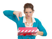 Woman holding gift — Stockfoto