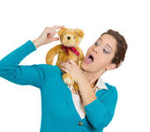 Woman dancing teddy bear — Stock Photo