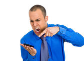 Angry man shouting on phone — Stock Photo
