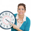 Woman holding clock — Stock Photo #39330109