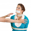 Kidnapped womwith mouth taped — Stock Photo #39330279