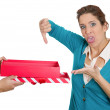 Stock Photo: Womreceiving gift