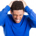 Man having bad headache — Stock Photo
