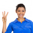 Stock Photo: Womgiving three fingers sign