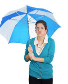Sad woman holding umbrella — Photo