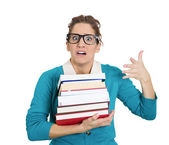 Woman carrying tons of books — Stock Photo