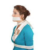 Kidnapped woman with mouth taped — Stock Photo