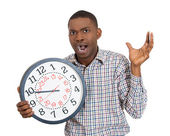 Man holding a clock — Foto de Stock