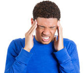 Man having bad headache — Stock Photo