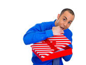 Man about to open gift box — Stock Photo