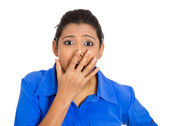 Shocked woman covering her mouth — Stock Photo
