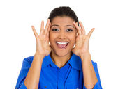 Woman looking shocked surprised in full disbelief hands on face — Stock Photo