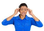 Woman having bad headache — Stock Photo