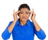 Kadın kötü bir baş ağrısı olan — Stok fotoğraf