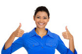 Woman with two thumbs up sign — Stock Photo