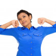 Stock Photo: Tired womstretching extending arms