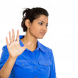 Woman with bad attitude giving talk to the hand gesture with palm outward — Stock Photo