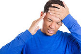 Muž s bolestmi hlavy — Stock fotografie