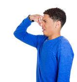 Człowiek z obrzydzeniem na twarzy, szczypie nos — Zdjęcie stockowe