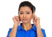 Woman pulling gripping ears sorry for what she did — Stock Photo