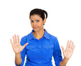 Angry woman raising hands up to say no — Stock Photo