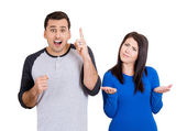 Excited man, bored woman — Stock Photo
