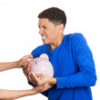 Man protecting his savings — Stock Photo