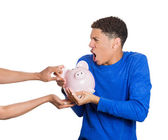 Man protecting his savings — Foto de Stock