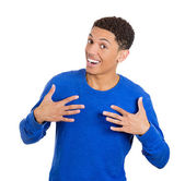Man pointing to himself — Stock Photo