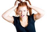 Stressed woman screaming — 图库照片