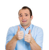 Sarcastic man, thumbs up — Stock Photo