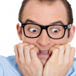 Nerdy scared man — Stock Photo