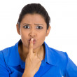 Stock Photo: Womsaying silence