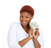Happy woman with cash — Stock Photo