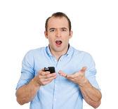überrascht mann mit telefon — Stockfoto