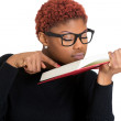 Stock Photo: Nerdy woman reading