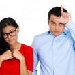 Stock Photo: Couple. Bully man, nerdy woman