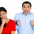 Couple, woman excited, man sad — Foto Stock