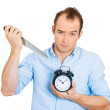 Sarcastic man holding knife and clock — Photo
