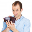 Surprised man with hole in his budget — Stock Photo
