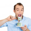 Greedy womeating cash — Stock Photo #41078201