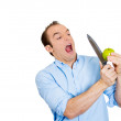 Man cutting apple — Stock Photo