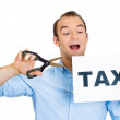 Man cutting taxes — Stockfoto
