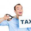 Man cutting taxes — Stock Photo