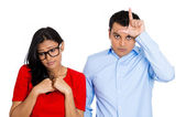 Couple. Bully man, nerdy woman — Foto de Stock