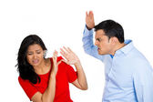 Violent husband about to hit his wife — Stock Photo